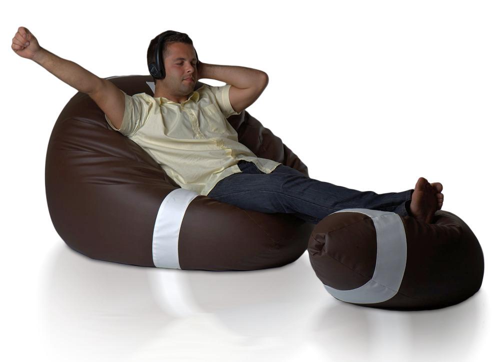 Sedací vak Ragby Míč XXXL sestava Relax s podnožkou